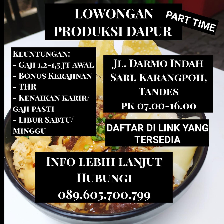 Lowongan Kerja Part Time Staff Produksi Dapur Penempatan Jl Darmo Indah Sari Portal Berita Sidoarjo