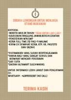 """Image may contain: text that says """"DIBUKA LOWONGAN UNTUK MENJAGA STAND MAKANAN KRITERIA: WANITA MAX.28 TAHUN TAHUN*TIDAK UNTUK LAKI-LAKI* -JUJUR,RAJIN,TANGGUNG JAWAB,BERSIH,CEKATAN -PENDIDIKAN M1N.SMP -KERJA FULL TIME (10 PAG1-9 MALAM) -KIR1M CV (R1WAYAT KERJA, KTp, KK, PASFOTO DAN 1JAZAH) *DIUTAMAKAN YANG SUDAH BERPENGALAMAN *HANYA BAG1 YANG SANGAT SERIUS DAN BERMINAT MENCARI PEKERJAAN *GAJI 1JUTA *DAERAH ALFAMART SUGIHWARAS UNTUK INFORMAS1 LEB1H LANJUT DAN PENGIRIMAN CV: WHATSAPP +6281931312387 (NO CALL) TERIMA KASIH"""""""